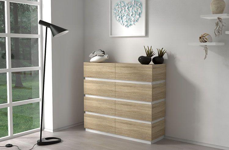 Duża szafka do sypialni dąb sonoma Nestia 4X