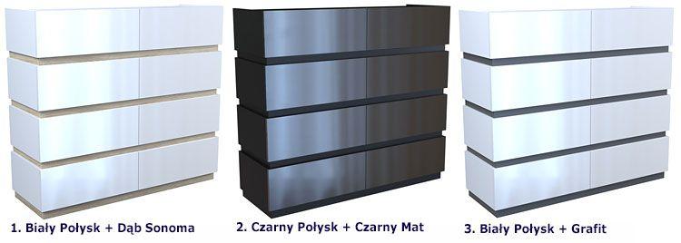 Lakierowana duża komoda biurowa z 8 szufladami Nestia 5X
