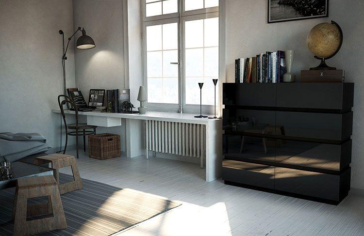 Nowoczesna lakierowana czarna komoda do salonu, biura Nestia 5X