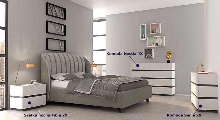 Zestaw białych mebli modułowych do sypialni Fandi