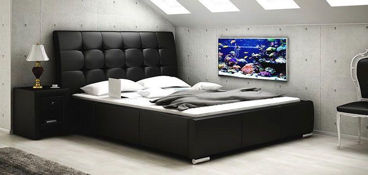 Pikowane łóżko małżeńskie ze stelażem Tibis 2X