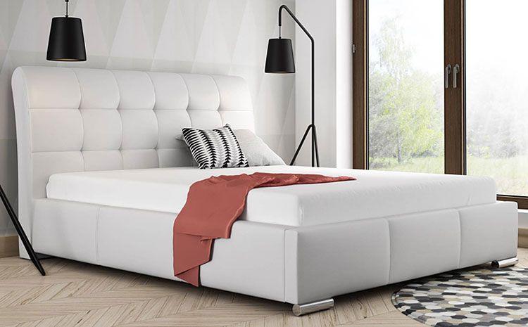 Pikowane łóżko podwójne ze stelażem 160x200 Tibis 3X