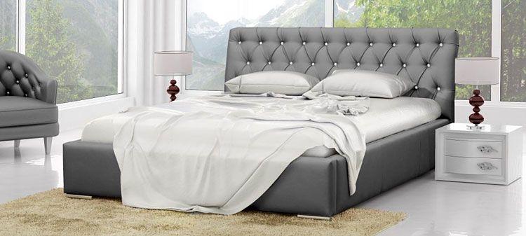 Pikowane łóżko podwójne ze stelażem 180x200 Luxor