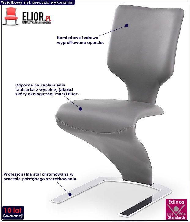 Nowoczesne szare krzesło kuchenne Elstar