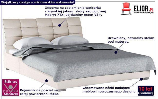 Tapicerowane łóżko z pojemnikiem na pościel 140x200 Tiris