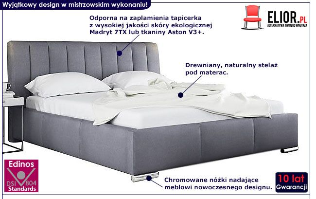 Podwójne łóżko z drewnianym stelażem 160x200 Venon 3X