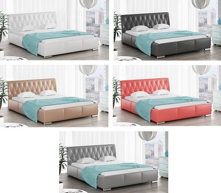 Tapicerowane łóżko dwuosobowe z pojemnikiem na pościel Tonkin