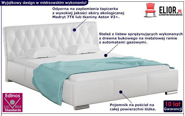 Tapicerowane łóżko małżeńskie z pojemnikiem na pościel 180x200 Tonkin 2X
