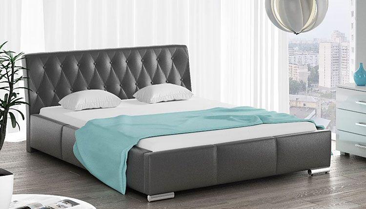 Pikowane łóżko podwójne z pojemnikiem na pościel 160x200 Tonkin 2X