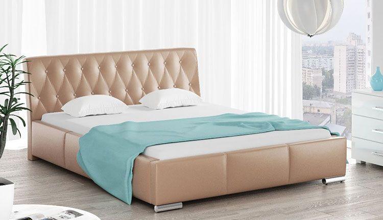 Podwójne łóżko pikowane z drewnianym stelażem 160x200 Tonkin 3X