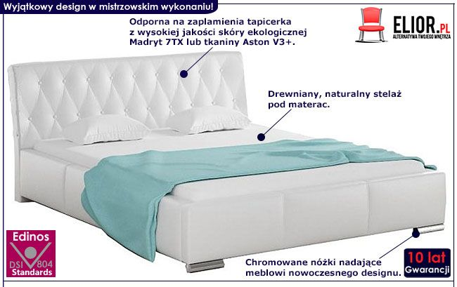 Pikowane łóżko z drewnianym stelażem 140x200 Tonkin 3X