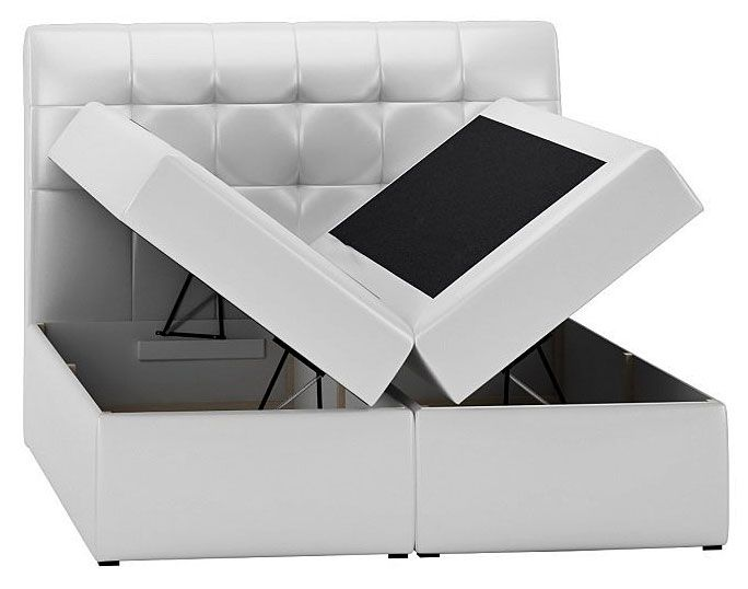 Tapicerowane łóżko kontynentalne z pojemnikiem na pościel Rexer