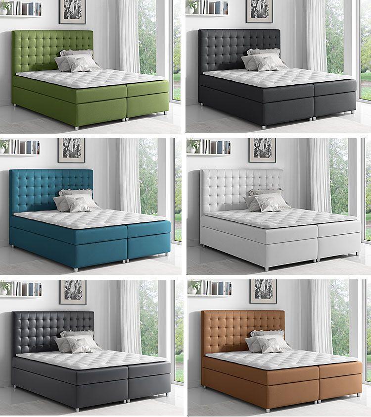 Pikowane łóżko kontynentalne z materacem i toperem Rexer