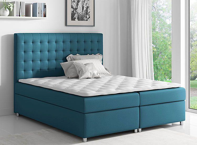 Tapicerowane podwójne łóżko kontynentalne 160x200 Rexer