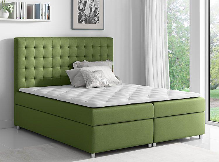 Tapicerowane łóżko kontynentalne z pojemnikiem na pościel 140x200 Rexer