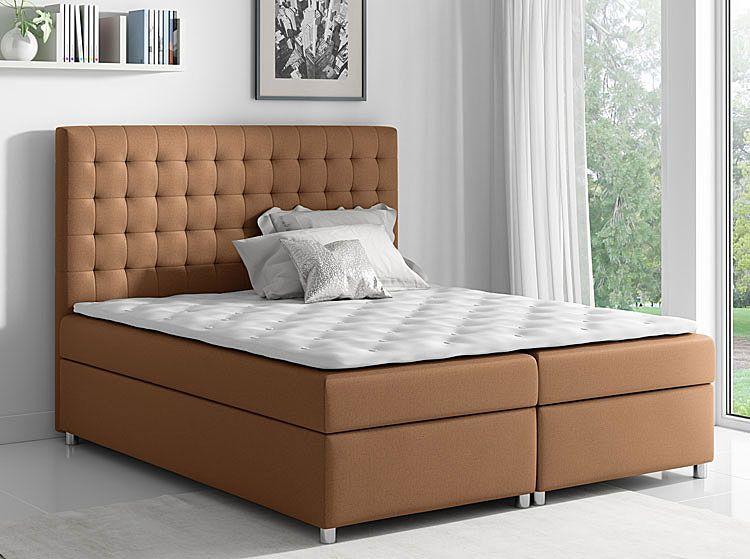 Jednoosobowe łóżko boxspring z pojemnikiem na pościel 120x200 Rexer