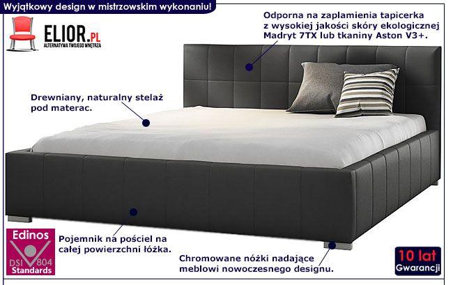 Dwuosobowe łóżko z pojemnikiem na posciel 140x200 Iveno