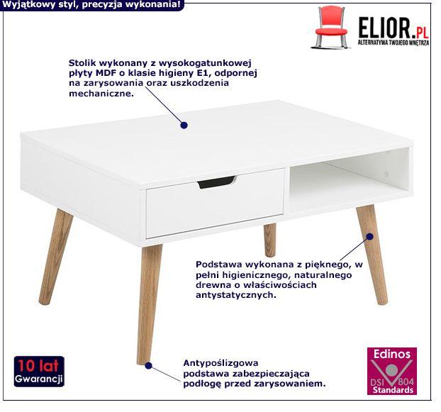 Skandynawski stolik Scando - biały