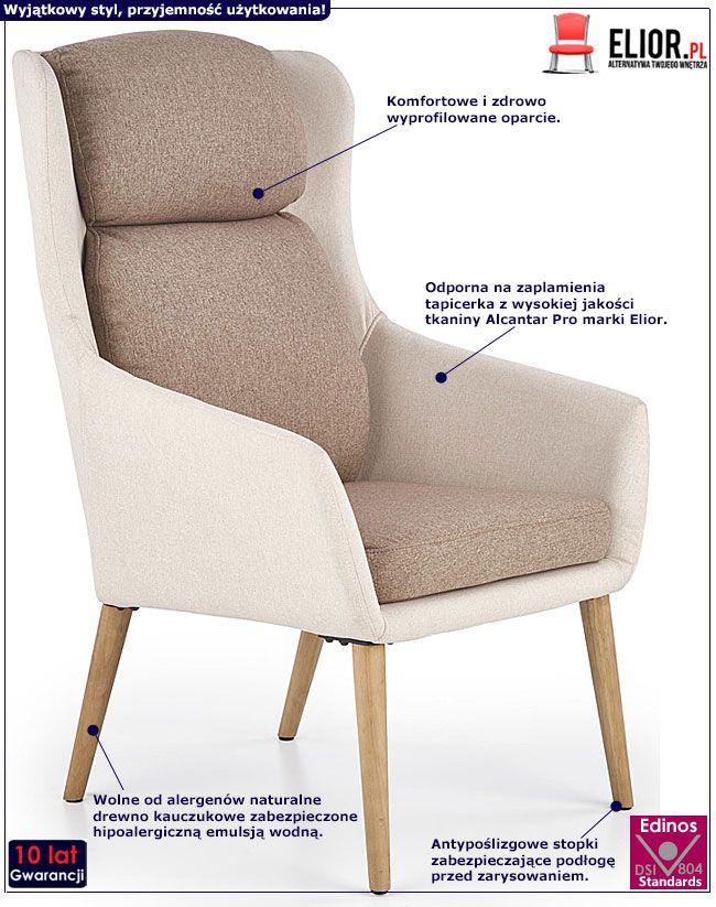 Beżowy tapicerowany fotel wypoczynkowy Kossan