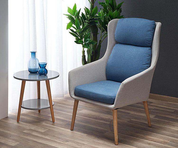 Niebieski fotel tapicerowany do czytania Kossan