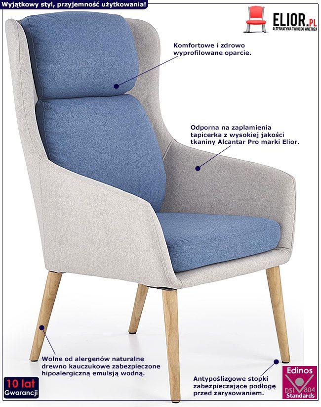 Niebieski fotel relaksacyjny do sypialni, biura Kossan