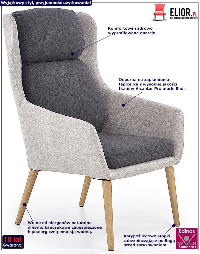 Popielaty fotel wypoczynkowy do salonu, sypialni Kossan