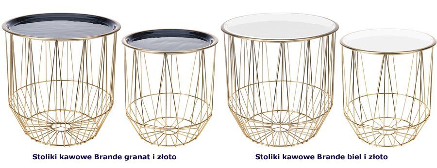 Elegancki komplet stolików Brande - złoto