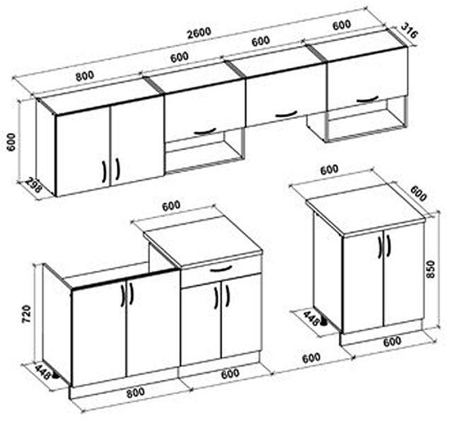 Zestaw kuchenny Evissa - rysunek techniczny