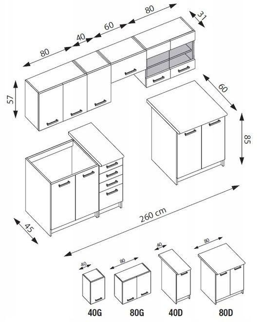 Komplet kuchenny Ardea - rysunek techniczny
