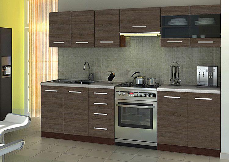 Komplet mebli kuchennych w kolorze ciemny dąb 260 cm Ardea