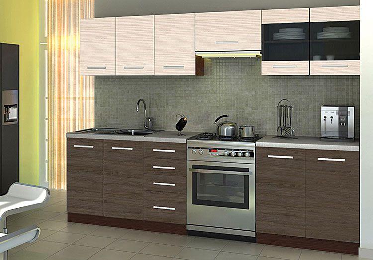 Zestaw kuchenny z szafkami kremowymi i dąb santana Ardea 260 cm