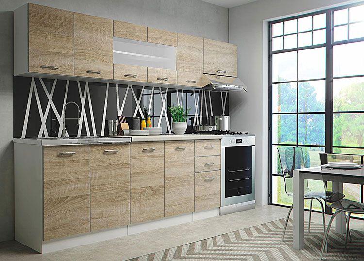 Komplet szafek do kuchni dąb sonoma, biały Viena 260 cm