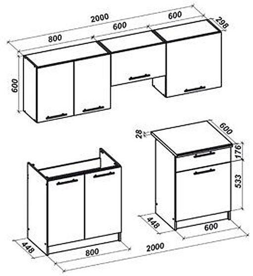 Zestaw kuchenny Brenda 200 cm - rysunek techniczny
