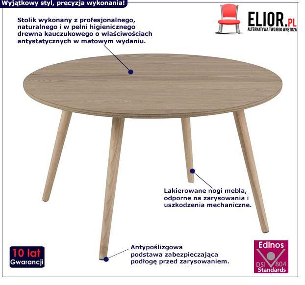 Drewniany stolik kawowy Darel - naturalny