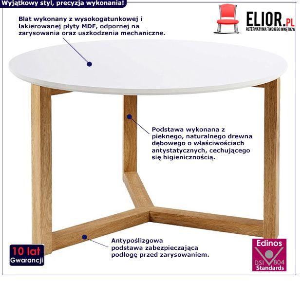 Skandynawski stolik Gammi - biały