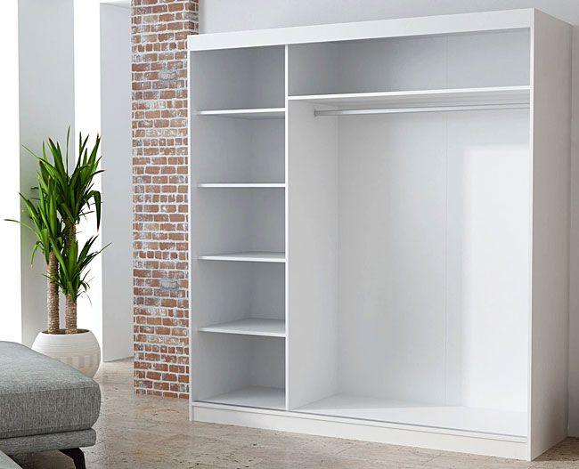 Biała szafa z przesuwnymi drzwiami do sypialni Stella
