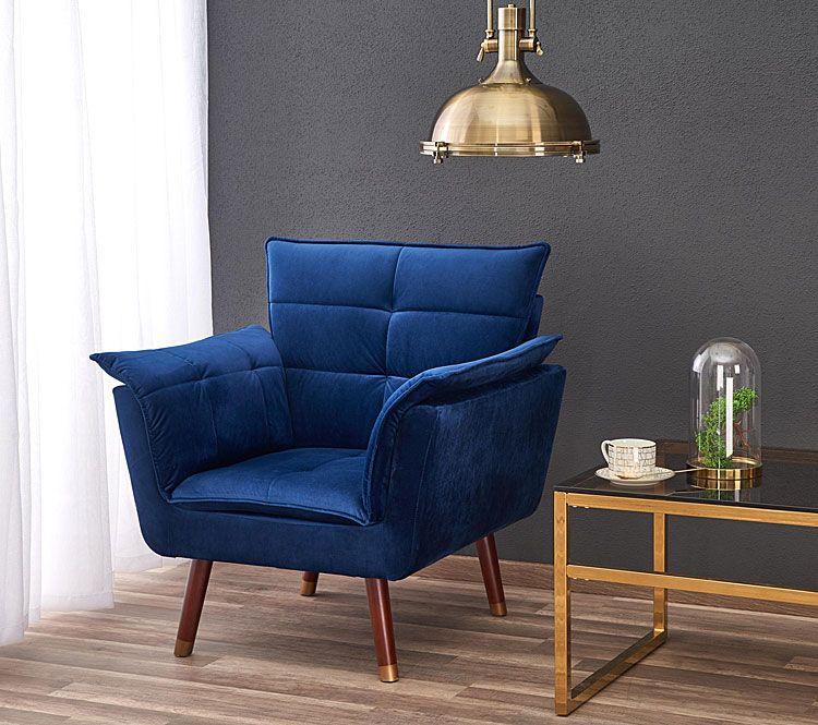 Niebieski fotel wypoczynkowy do czytania, oglądania tv Raven