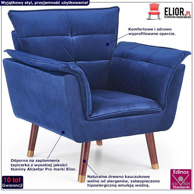 Granatowy fotel wypoczynkowy do salonu Raven