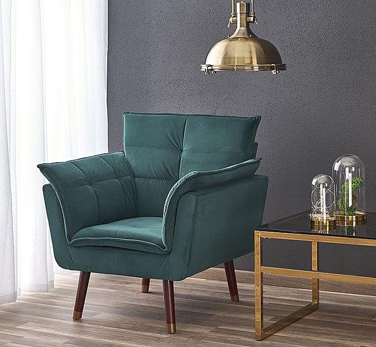 Zielony, tapicerowany fotel relaksacyjny do czytania Raven