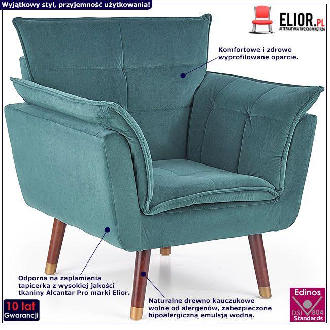 Ciemnozielony fotel wypoczynkowy do salonu Raven