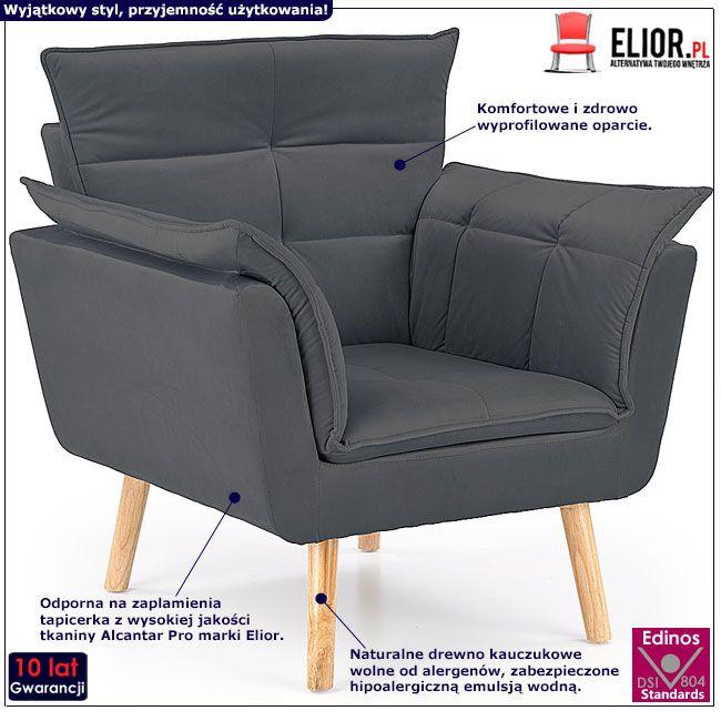Szary fotel relaksacyjny do salonu Raven