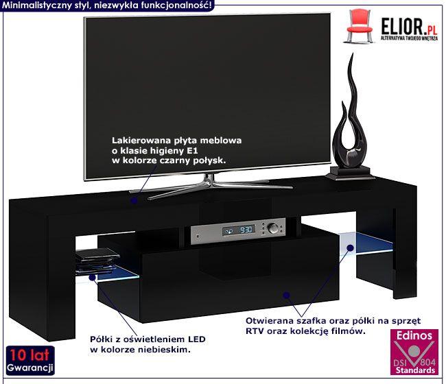 Lakierowana czarna szafka pod telewizor 140 cm Dexis 2X