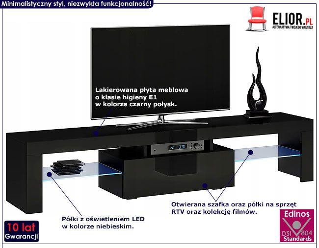 Czarna lakierowana szafka pod telewizor 160 cm Dexis 3X