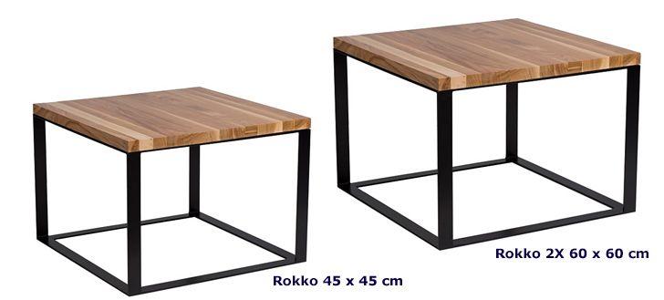 Industrialny stolik kawowy Rokko - drewniany