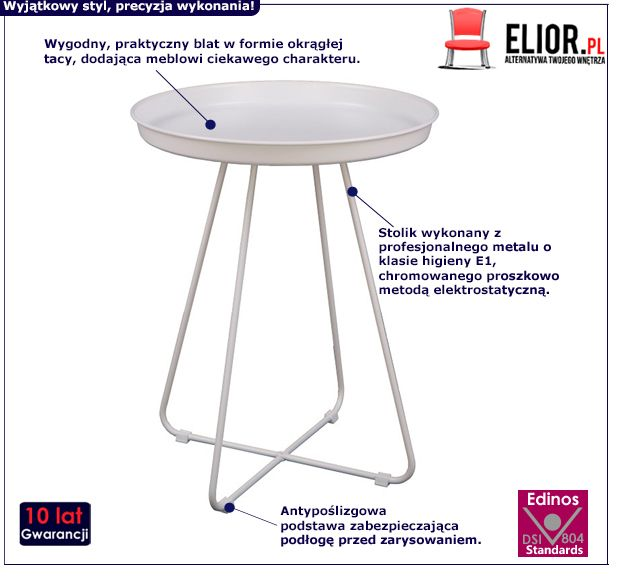 Modny stolik Ralto - biały