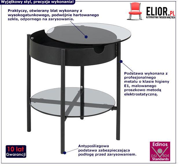 Czarny stolik kawowy Mallo 2X - okrągły