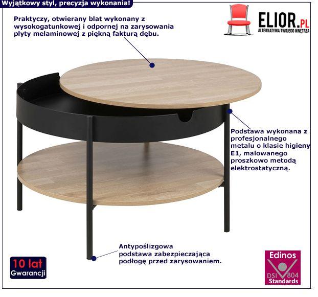 Okrągły stolik kawowy Mallo 3X - dąb