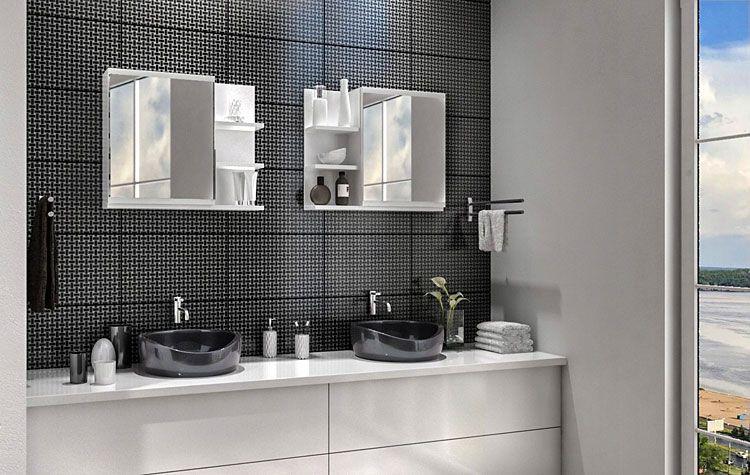 Białe lustro łazienkowe z 5 półkami Lexi