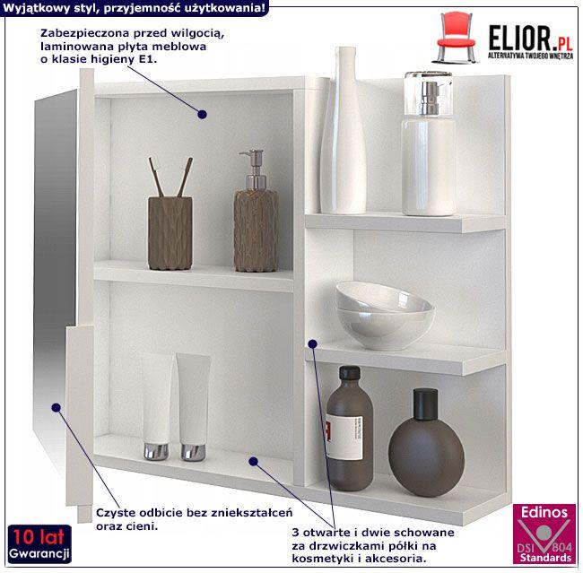 Wiszące białe lustro łazienkowe z drzwiczkami Lexi 2X