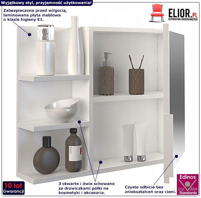 Białe lustro łazienkowe z drzwiczkami Lexi 3X